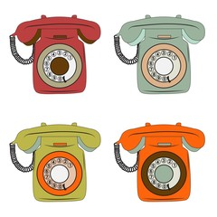 retro phone items set on white