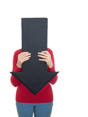 Mature woman hiding behind arrow - health issues maybe. Isolated