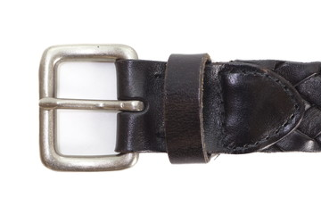 Black leather belt on a white background