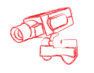 Red and White Surveillance Camera (CCTV)