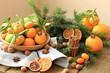 canvas print picture - Рождественские мандарины с орехами и корицей