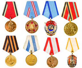Collection Set Сollage Of Russian Soviet Medals For Participati