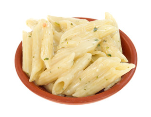 Side dish of cooked pasta in a small bowl