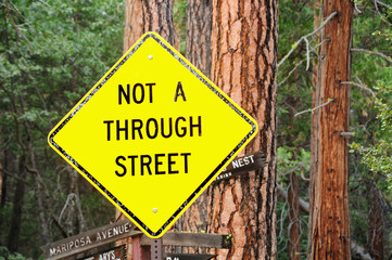 Traffic sign warning about dead end. USA.