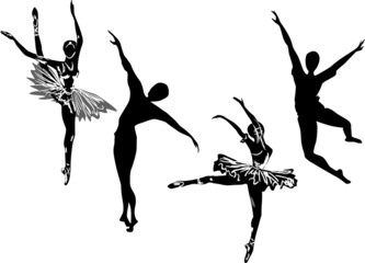 four isolated ballet dancer sketches