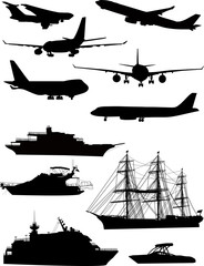ship and plane silhouettes isolated on white