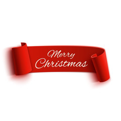 Red realistic detailed curved paper Merry Christmas banner
