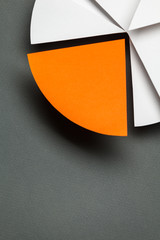 Close up of business chart, isolated on grey