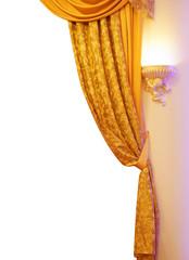 orange curtains on a white background