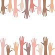 Multiracial people hands background
