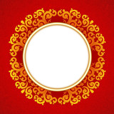 Oriental, folk ornament. Red background.