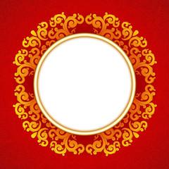 Oriental, folk ornament. Red background.