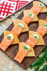 Potato pancakes with salmon
