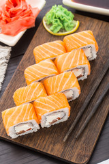Sushi roll with salmon and shrimp
