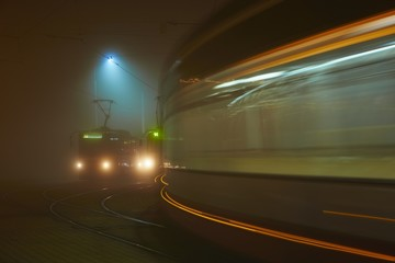 Tram station at the night