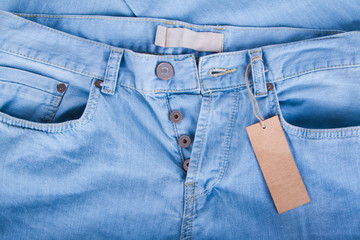 Blue jeans detail with blank label