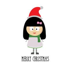 merry christmas with little girl cartoon