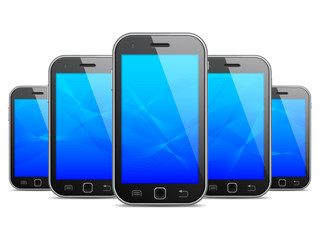 Row of black mobile phones with blue screens.