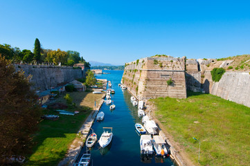 The channel separates the Old Fortress from the Corfu. Greece.