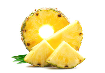 Slice of ripe pineapple.