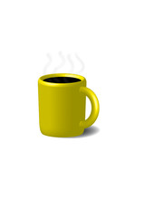 Coffee in yellow cup. Isolated on a white.