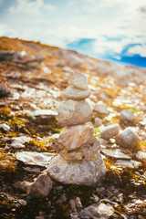 Stack Of Rocks On Norwegian Mountain, Norway Nature