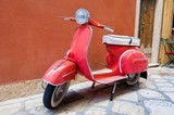Scooter parked on Kerkyra street. Corfu island. Greece.