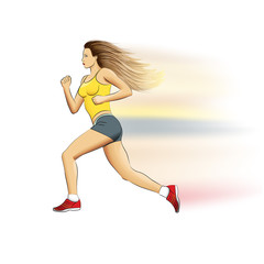 Illustration of a realistic sports running girl on white