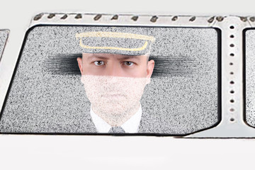 angry and upset captain for delays flight by snowstorm