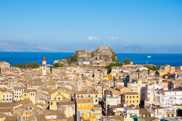 Panoramic view of Corfu old town with the Old Fortress. Greece.