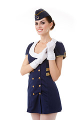 Charming Stewardess Dressed In Blue Uniform On White Background.