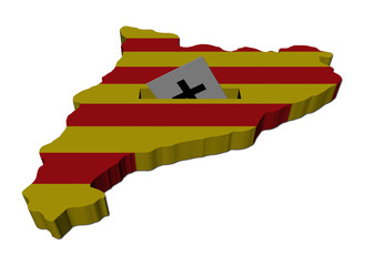 Catalonia election map with ballot paper illustration
