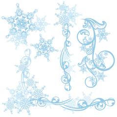 snowflakes decorative design elements