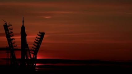 Space rocket dawn (or sunset). Baikonur