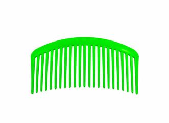 green plastic hair comb