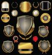 Golden shield, badges, labels and laurels