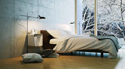modernes schlafzimmer in winterlandschaft