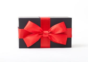box with red ribbon isolated