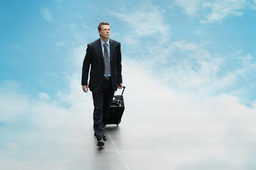 business man travel sky background cloud computing concept