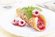 Dessert. Pancake with raspberry jam