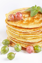 Pancakes with gooseberry berry