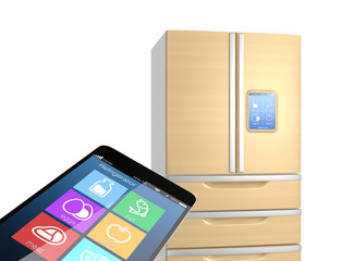 Smart refrigerator monitoring by smart phone concept