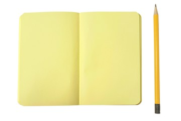 Blank yellow notebook and pencil isolated on white