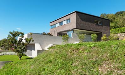Architecture modern design, house of bricks, outdoors