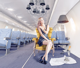 woman  in aircraft cabin
