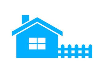 Blue house icon on white background