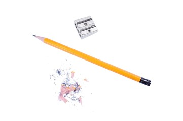 Yellow pencil with metal sharpener isolated on white