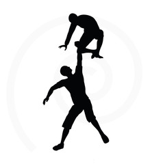 silhouette of two senior climbers men team
