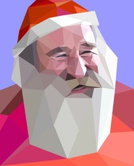 "Trendy ""low poly"" style portrait of laughing Santa"