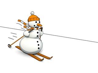 little sketchy snowman on ski